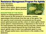 resistance management program for aphids