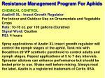 resistance management program for aphids10