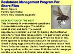resistance management program for shore flies