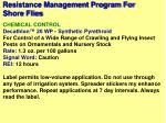 resistance management program for shore flies80