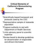 critical elements of california s biomonitoring program