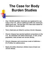 the case for body burden studies
