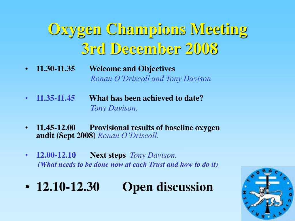 Oxygen Champions Meeting