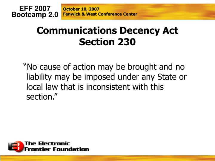 Communications Decency Act Section 230