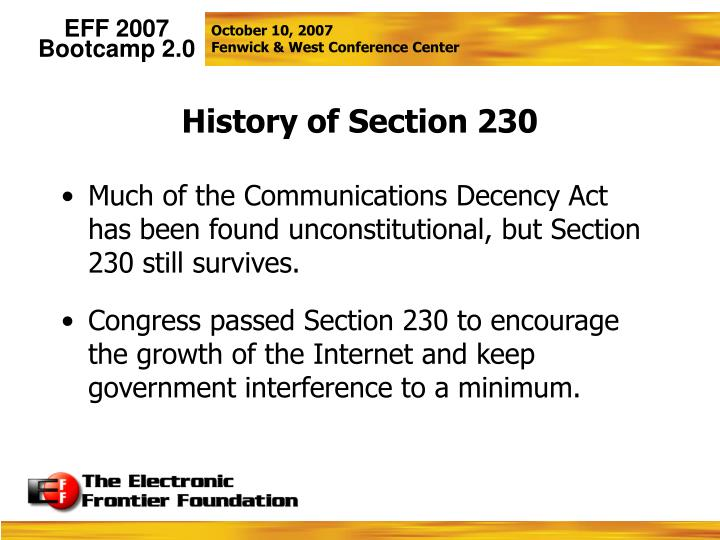 History of Section 230