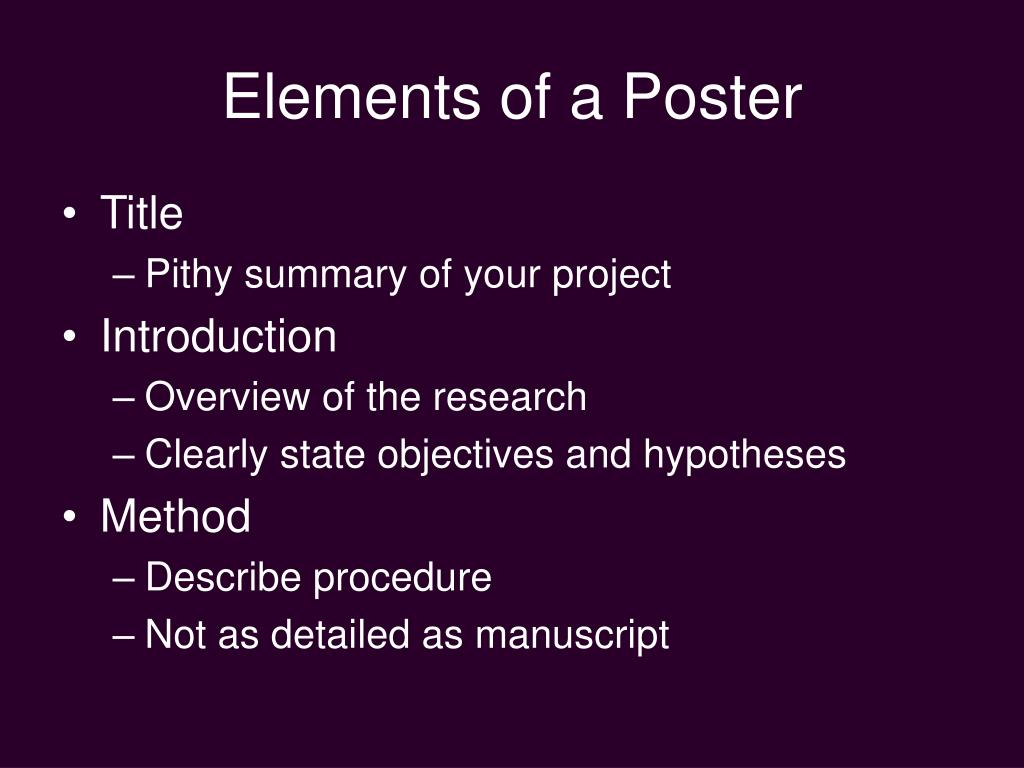 Elements of a Poster