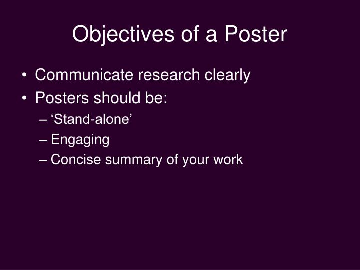 Objectives of a poster
