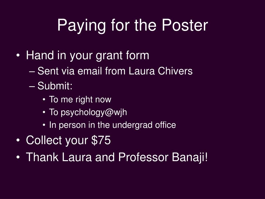 Paying for the Poster