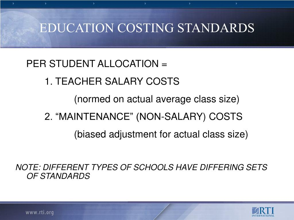 EDUCATION COSTING STANDARDS