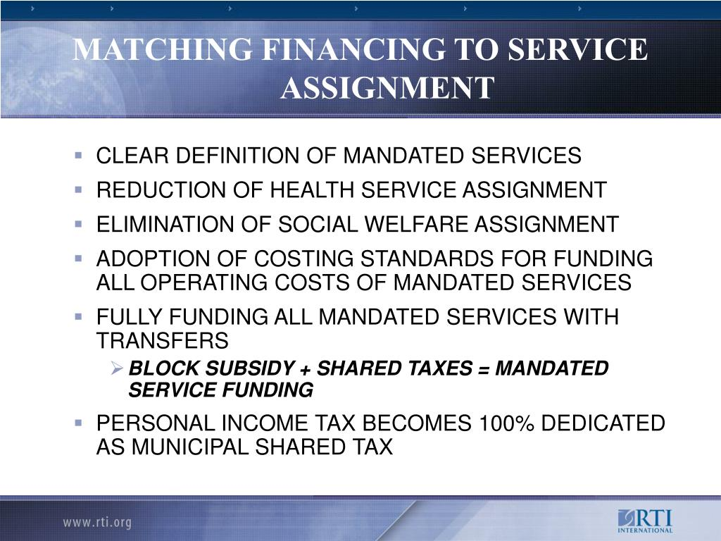 MATCHING FINANCING TO SERVICE ASSIGNMENT