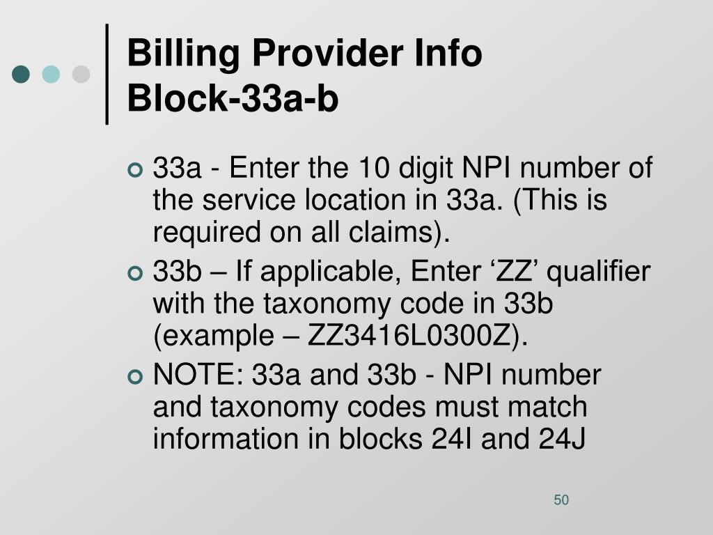 Billing Provider Info