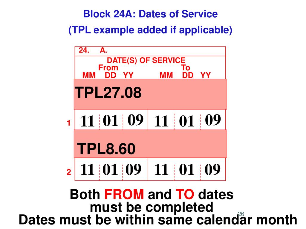 Block 24A: Dates of Service