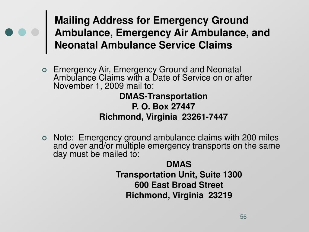 Mailing Address for Emergency Ground Ambulance, Emergency Air Ambulance, and Neonatal Ambulance Service Claims