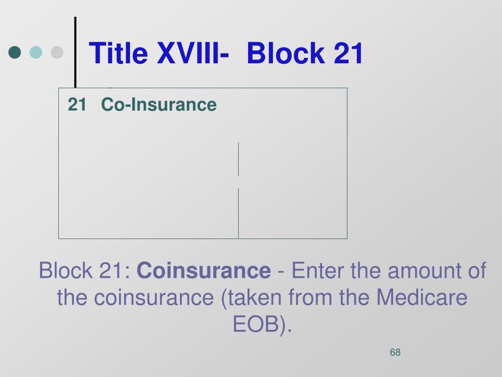 Title XVIII-  Block 21