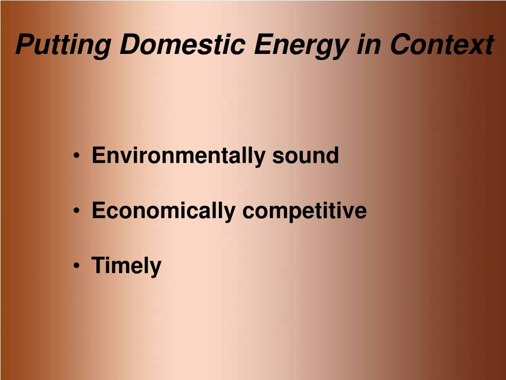 Putting Domestic Energy in Context