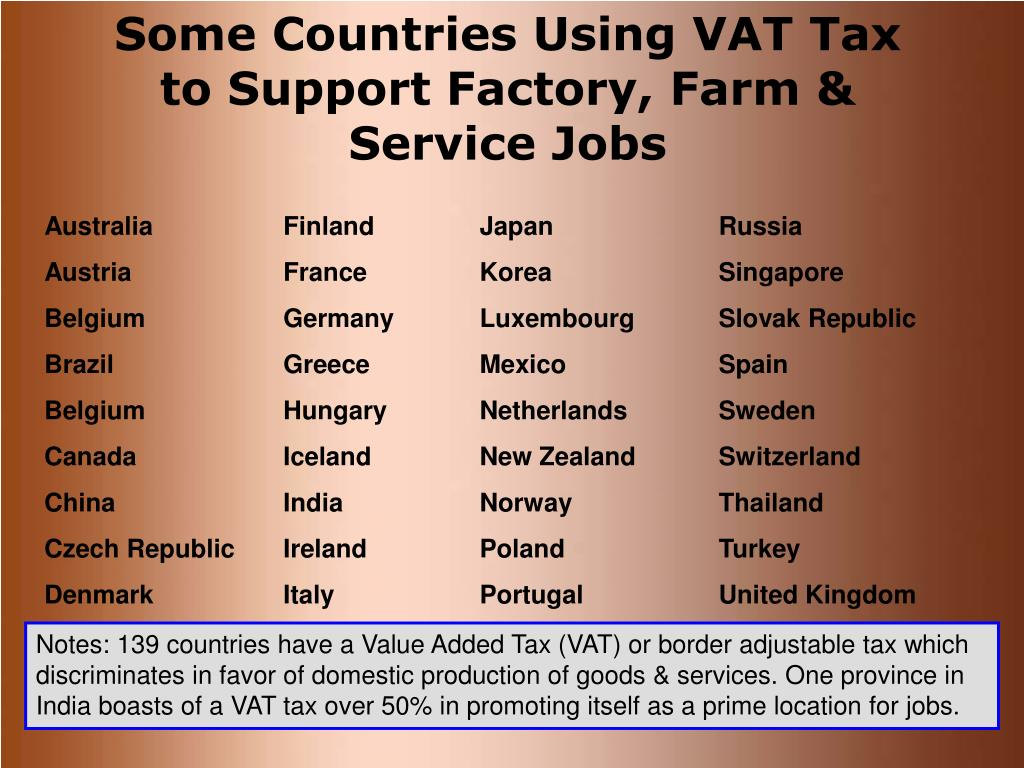 Some Countries Using VAT Tax to Support Factory, Farm & Service Jobs
