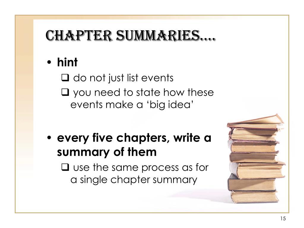 Chapter Summaries….