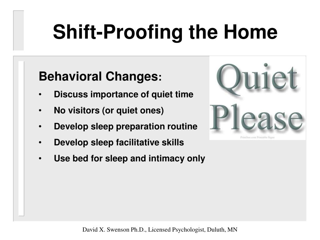 Shift-Proofing the Home