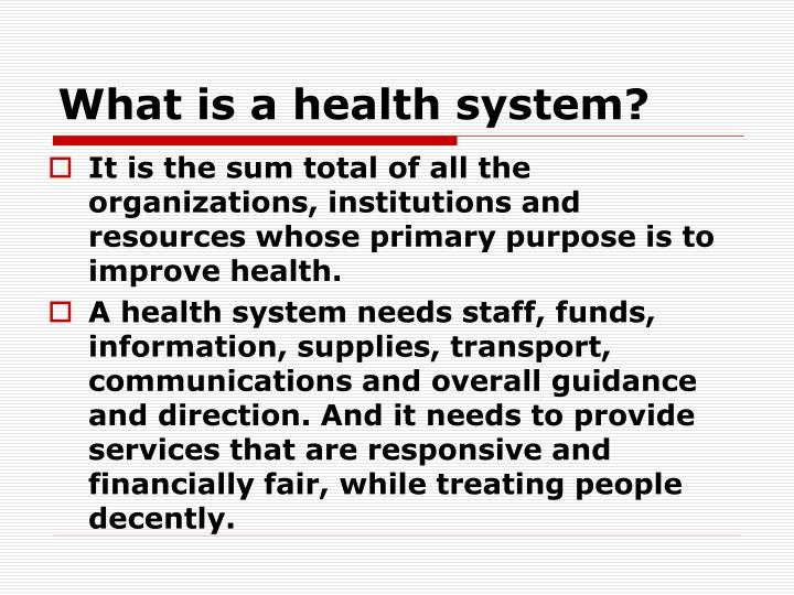 What is a health system
