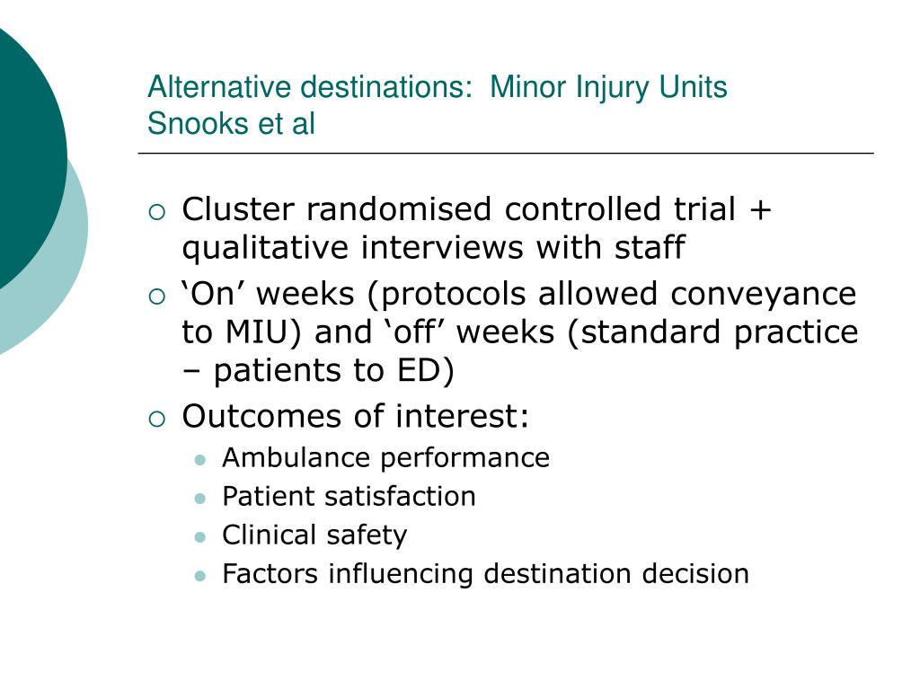 Alternative destinations:  Minor Injury Units