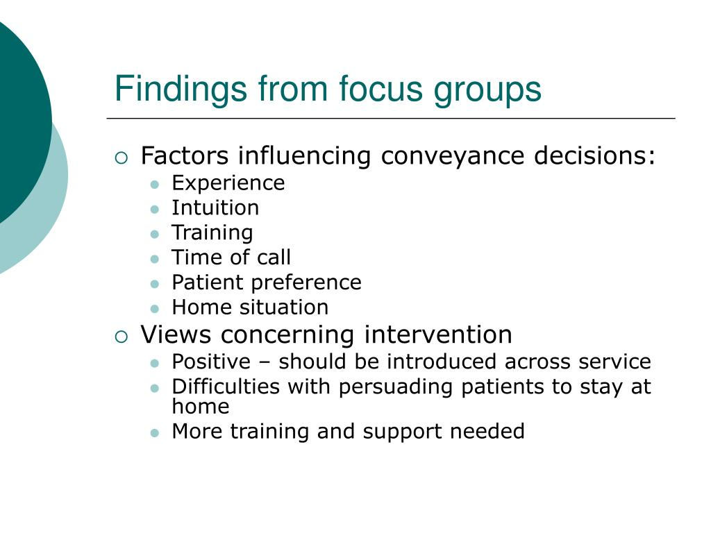 Findings from focus groups