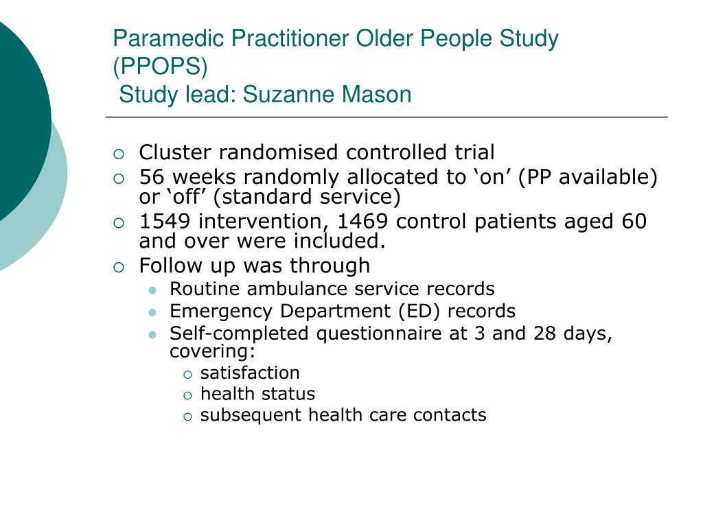Paramedic Practitioner Older People Study (PPOPS)