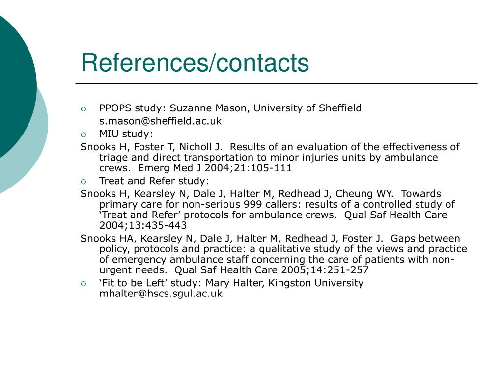 References/contacts