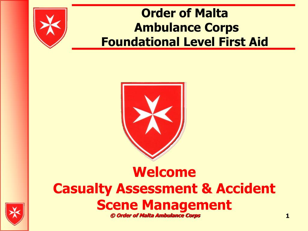 order of malta ambulance corps foundational level first aid l.