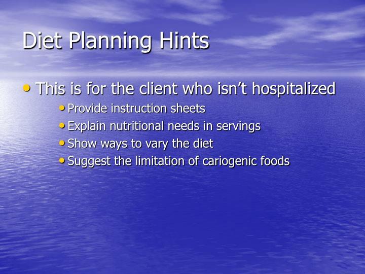 Diet Planning Hints
