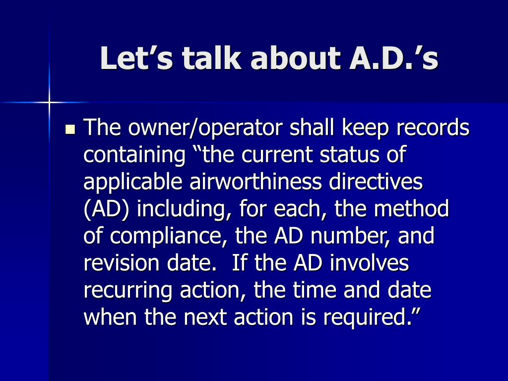 Let's talk about A.D.'s