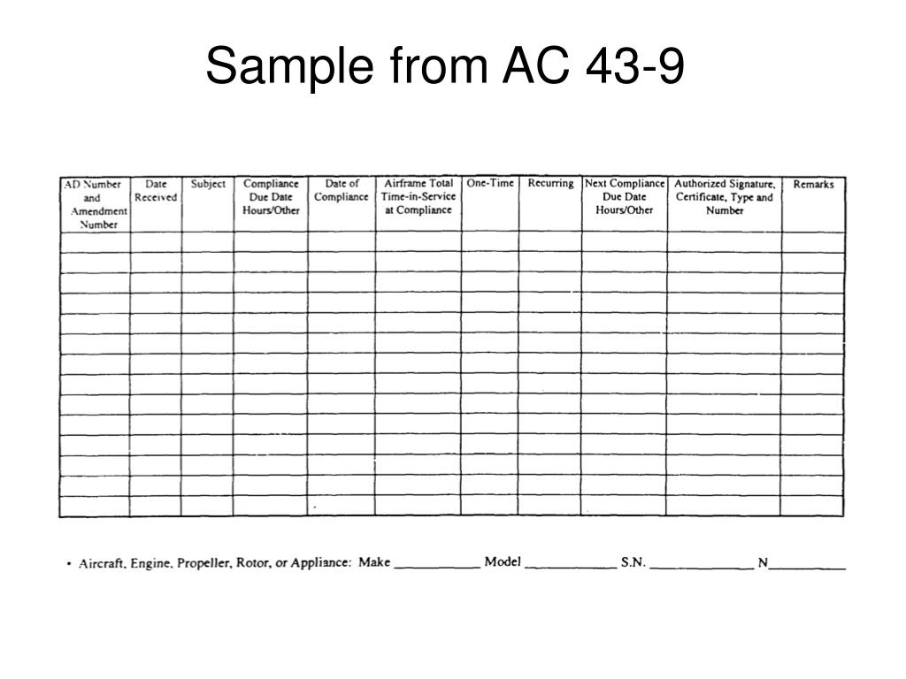 Sample from AC 43-9