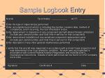 sample logbook entry