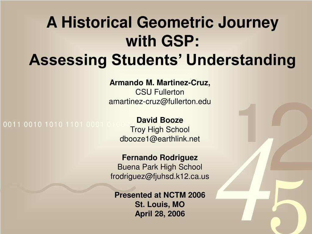 a historical geometric journey with gsp assessing students understanding