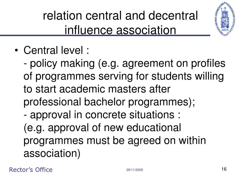relation central and decentral