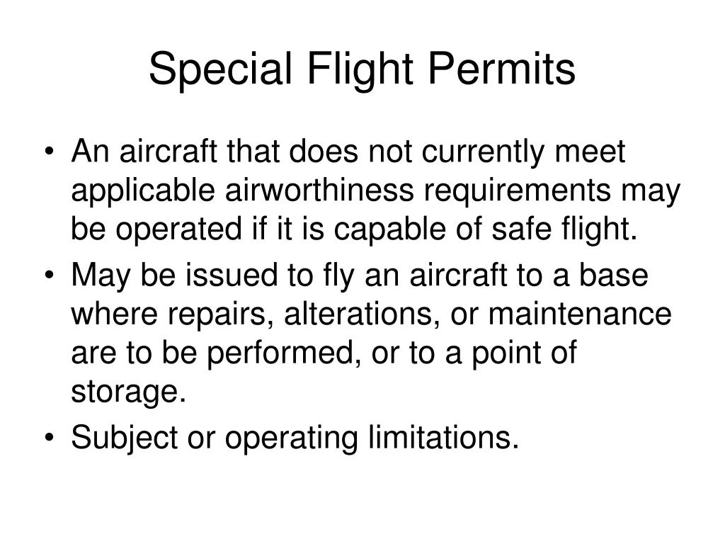 Special Flight Permits