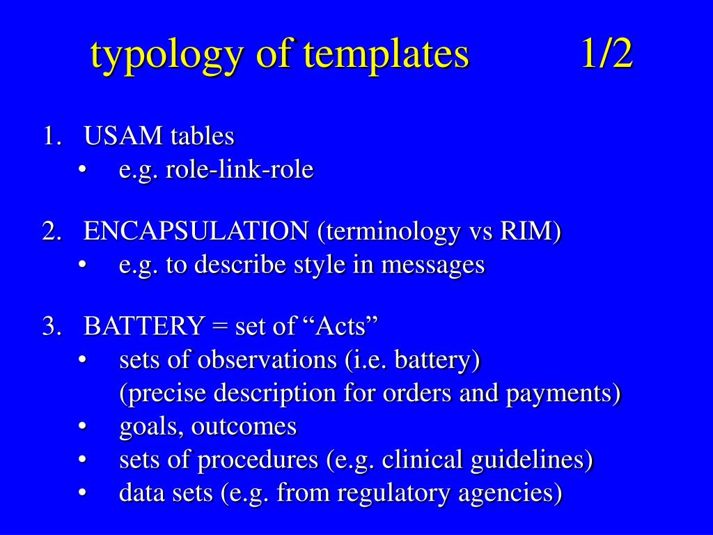 typology of templates		1/2