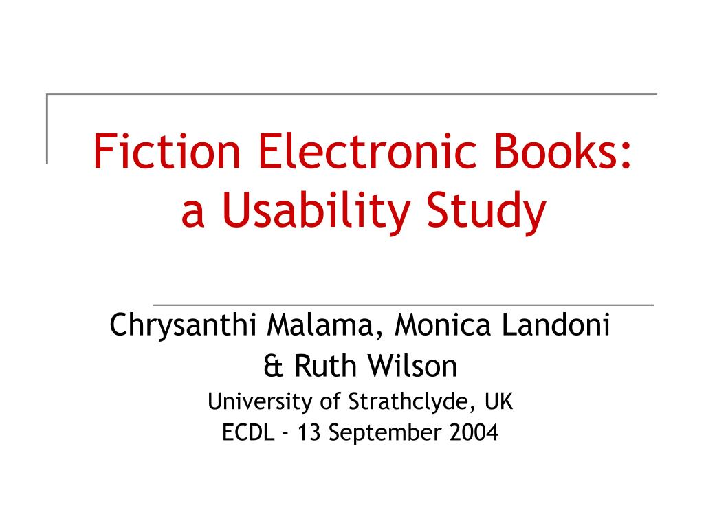 fiction electronic books a usability study l.