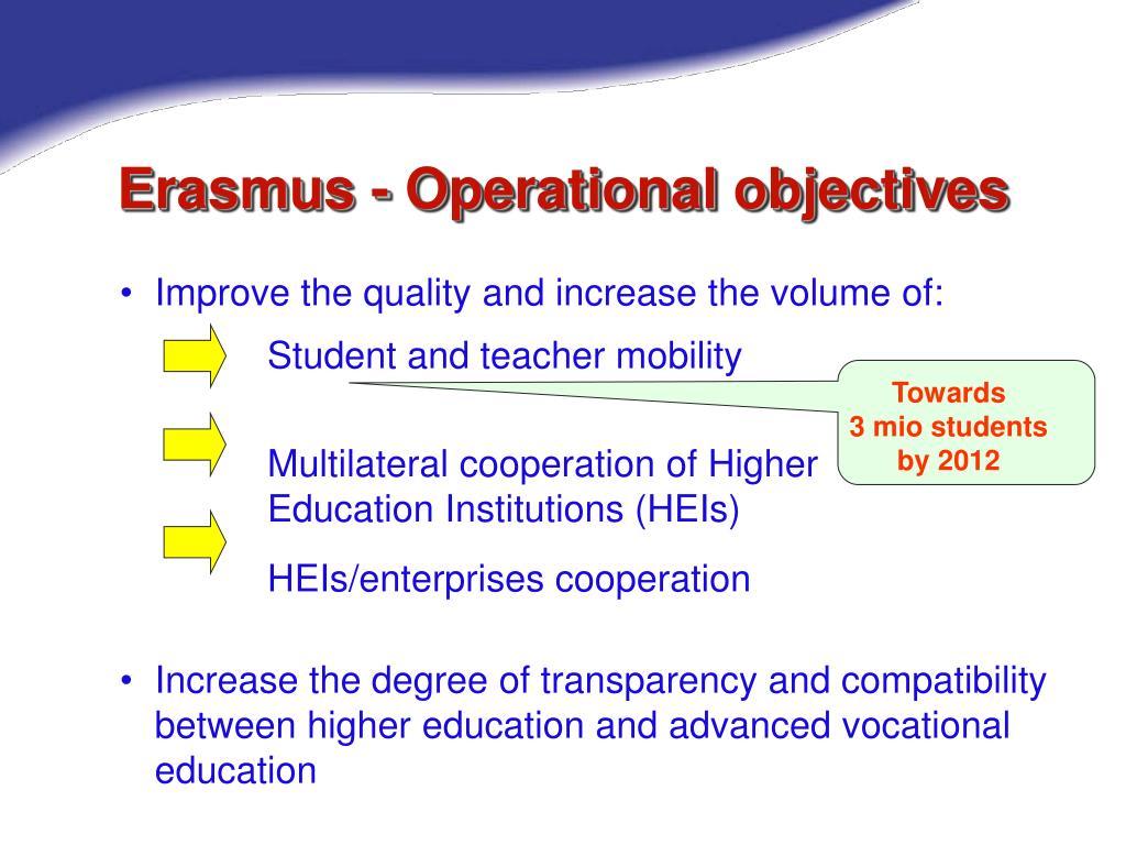 Erasmus - Operational objectives