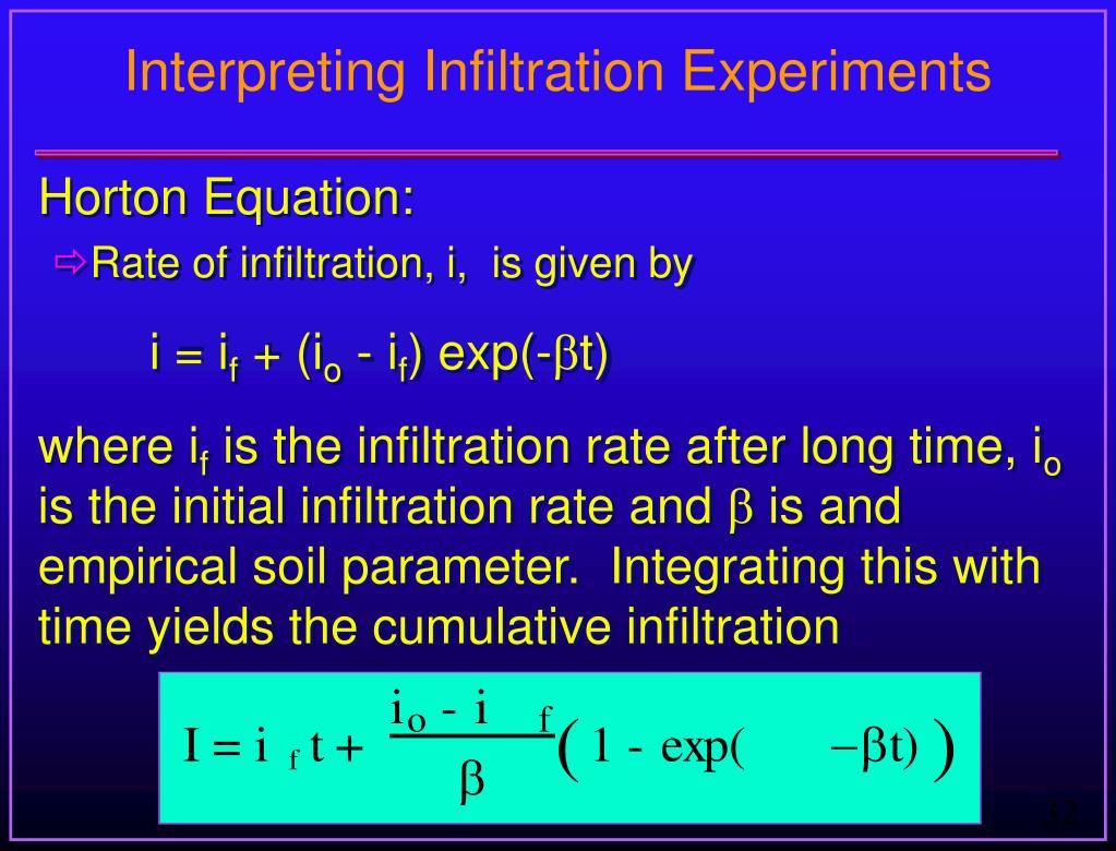 Interpreting Infiltration Experiments
