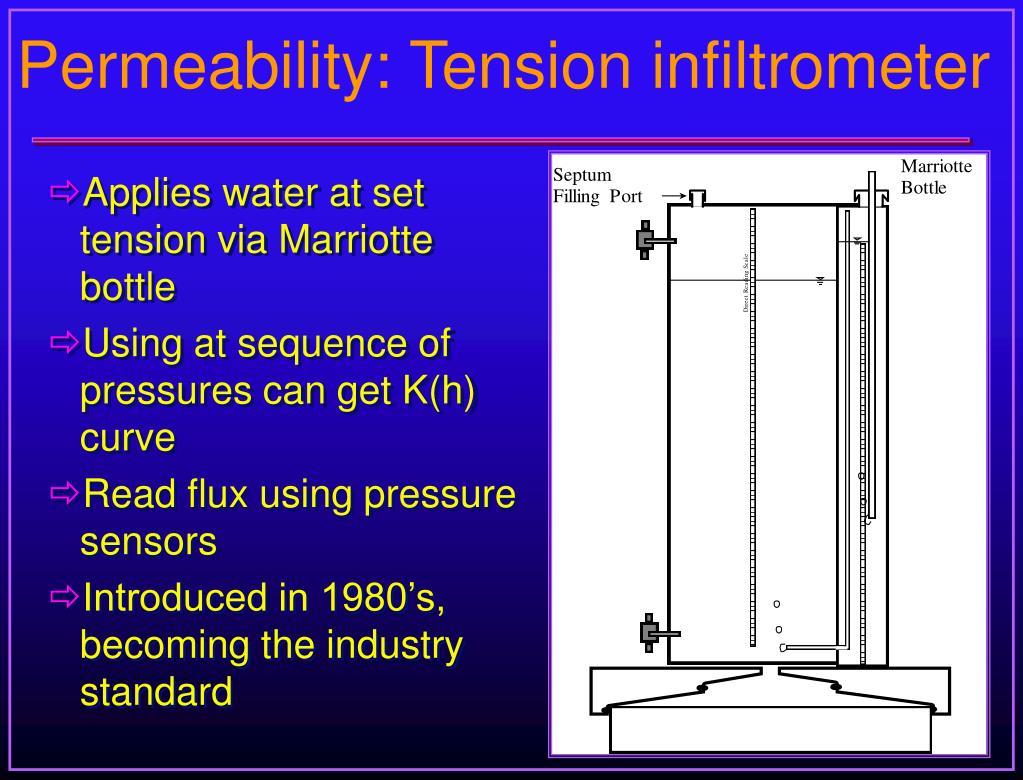 Permeability: Tension infiltrometer