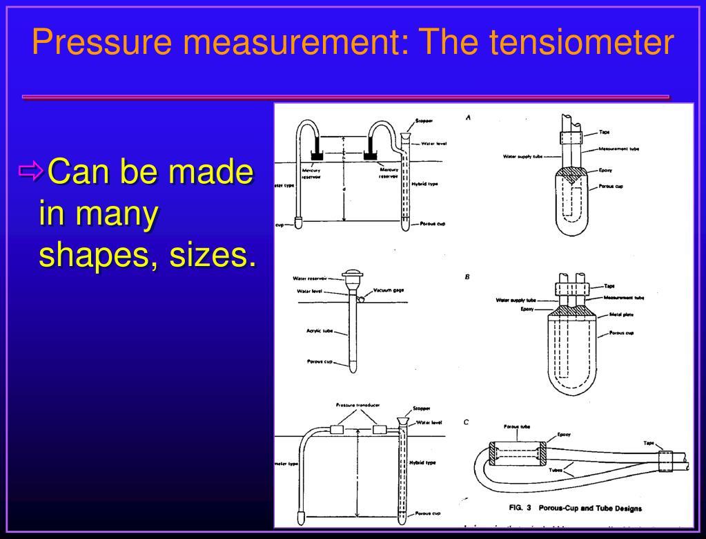 Pressure measurement: The tensiometer