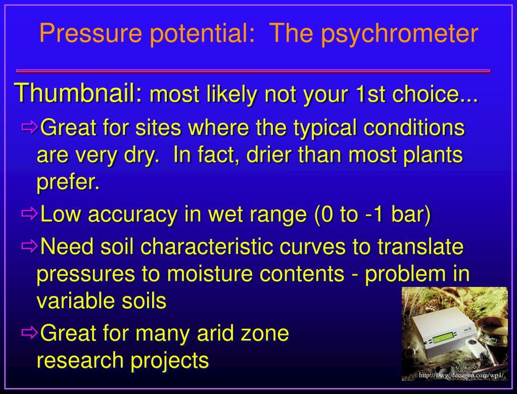 Pressure potential:  The psychrometer