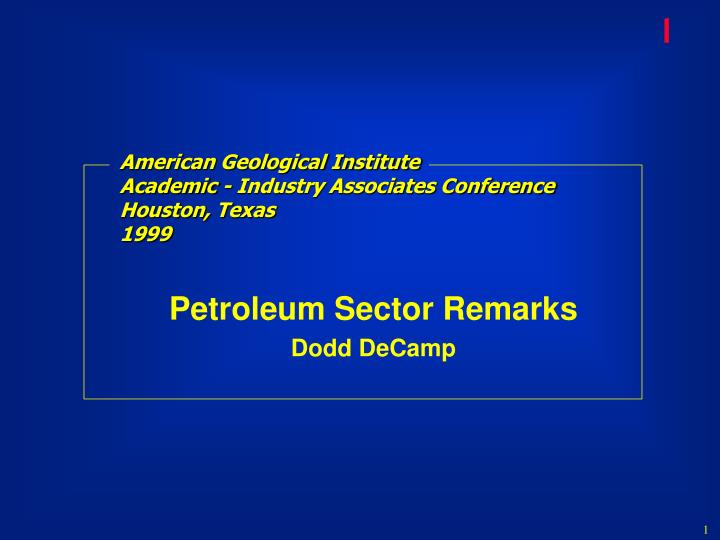 American geological institute academic industry associates conference houston texas 1999