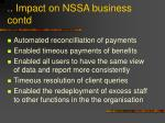 impact on nssa business contd