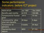 some performance indicators before ict project