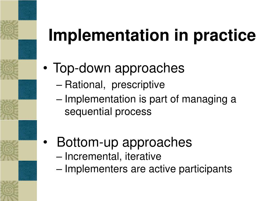 Implementation in practice