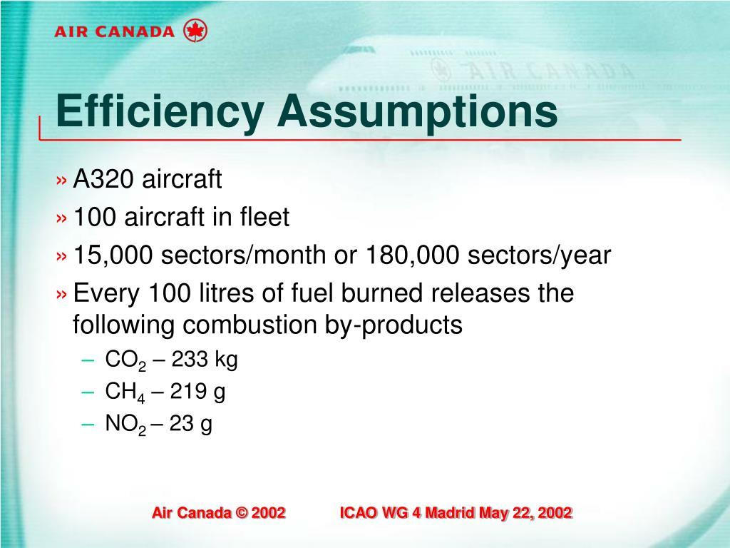 Efficiency Assumptions