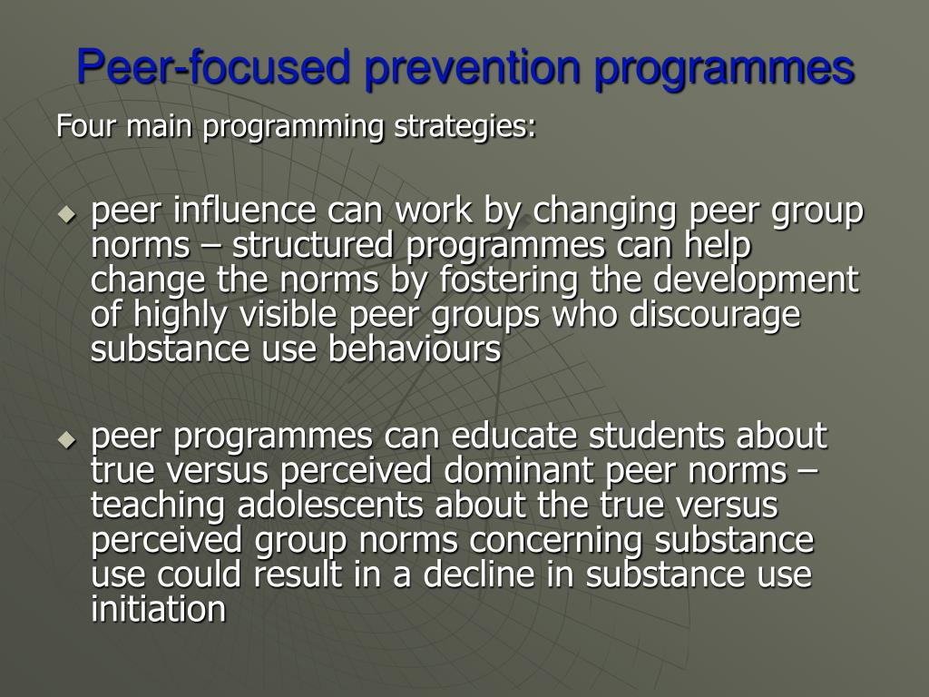 Peer-focused prevention programmes