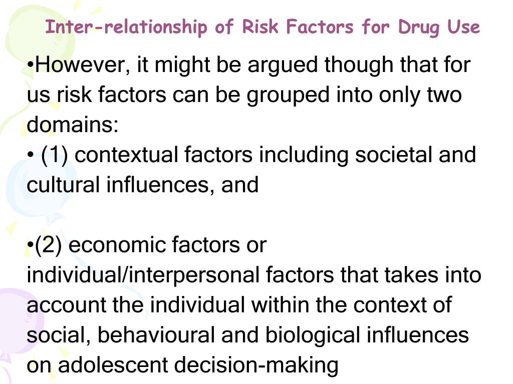 Inter-relationship of Risk Factors for Drug Use