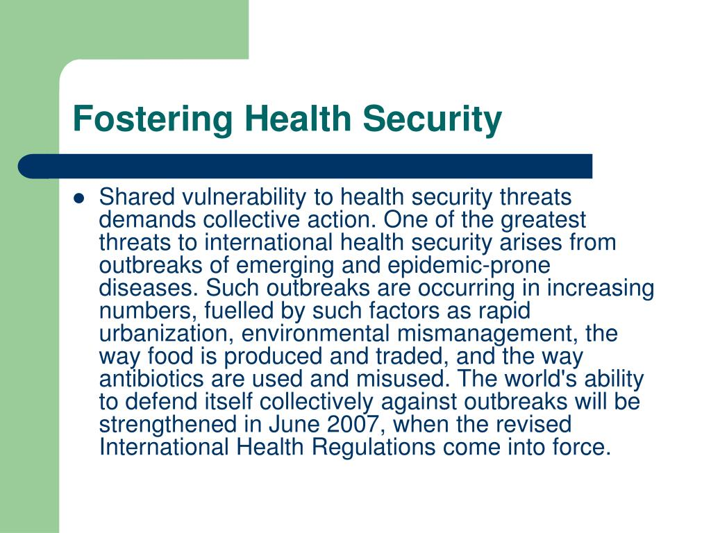 Fostering Health Security